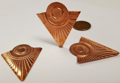 COPPER COATED STEEL SETTING FINDINGS  N44 6 VINTAGE DECO TRIANGLE GROOVED 37mm