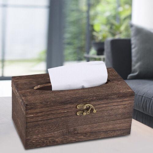 JW/_ Wooden Tissue Box Paper Napkin Holder Dispenser Case Bathroom Office Desk