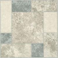 White Grey Blue Marble Self Stick Adhesive Vinyl Floor Tiles - 40 Pieces 12x12