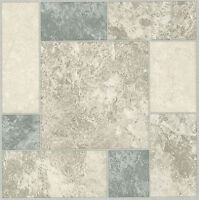 White Grey Blue Marble Self Stick Adhesive Vinyl Floor Tiles - 40 Pieces 12x12 on sale