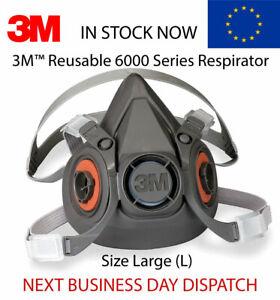 Genuine-3M-6000-series-Half-Facepiece-Reusable-6300-Respirator-size-Large-L