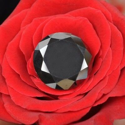 Fabulous 1.60 Ct Round Cut Loose Black Diamond Moissanite Solitaire~Ring Size