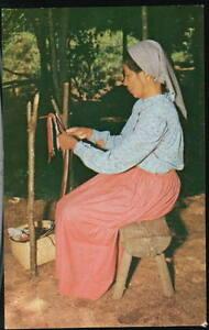 CHEROKEE-NC-Oconaluftee-Indian-Woman-Finger-Weaving-Vtg