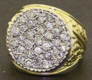 Heavy-18K-gold-amazing-1-40CTW-diamond-cluster-men-039-s-ring-size-8-5