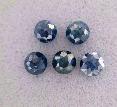 0.58TCW 2.8MM Natural Loose Diamond Rose Cut Round Shape Blue Color (5 pcs) lot