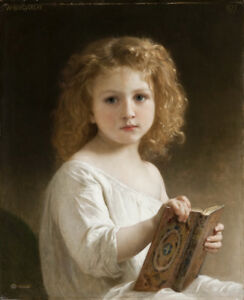 William-Adolphe-Bouguereau-The-Story-Book-Art-Canvas-Print-Premium-Giclee-8x10