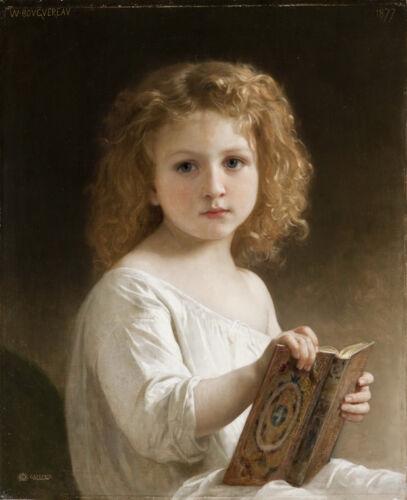 William-Adolphe Bouguereau The Story Book Art Canvas Print Premium Giclee 8x10