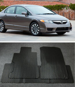 All Weather Black Rubber Floor Mats Liner Front Rear For