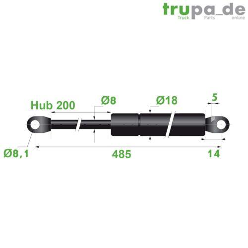 Hub=200,Länge 485,Ø 8//18 mm Gasdruckfeder Lift Haubenheber 320N Made in EU
