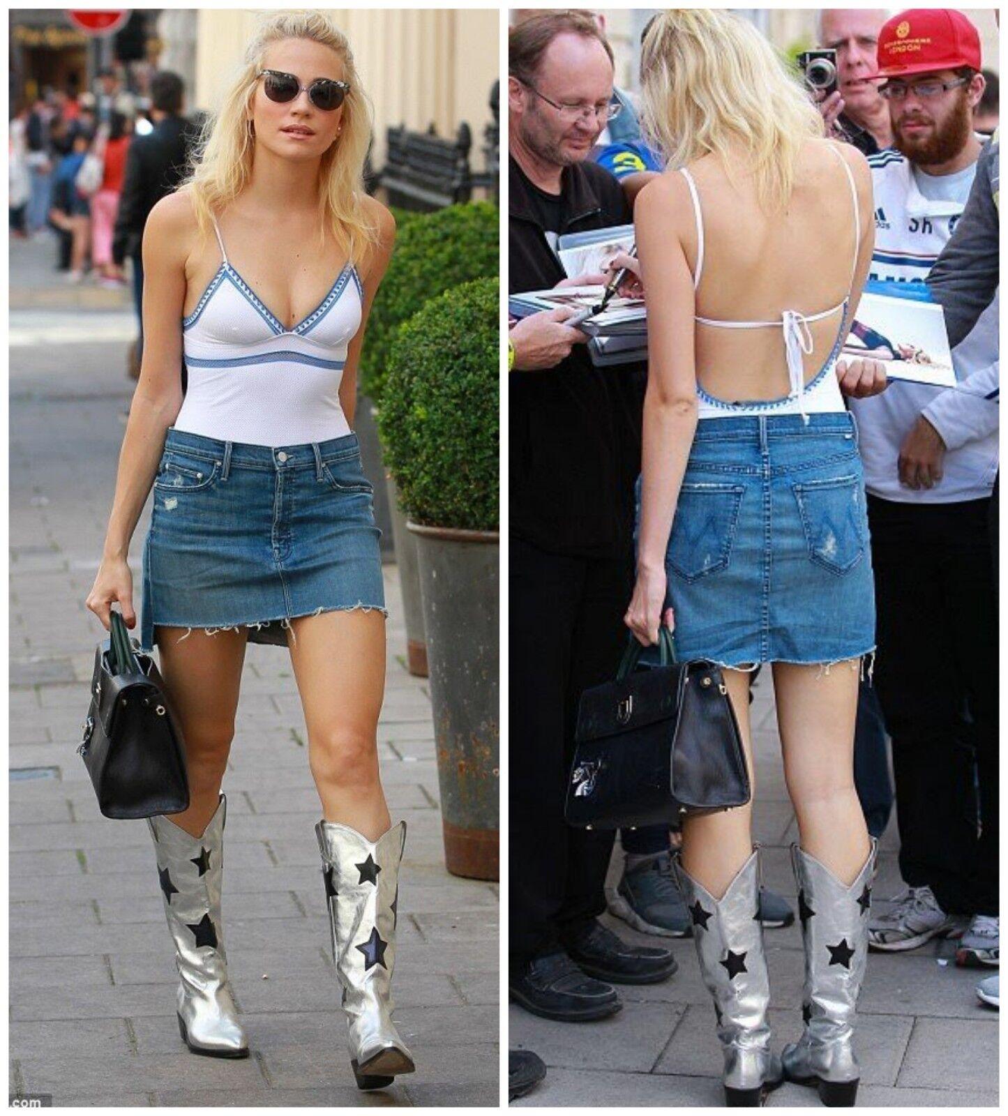 NWT Mother Denim Step Mini Skirt Graffiti Girl Size 24, 25  208
