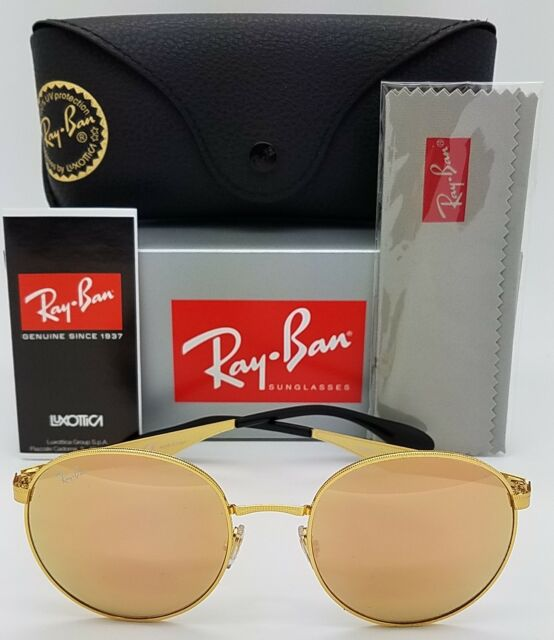 77c2593e7355d NEW Rayban sunglasses RB3537 001 2Y 51 Gold Copper Pink 3537 flat metal  round