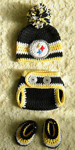 Free Crochet Pattern Football Diaper Cover : Pittsburgh Steelers Football Baby Crochet pom-pom hat ...