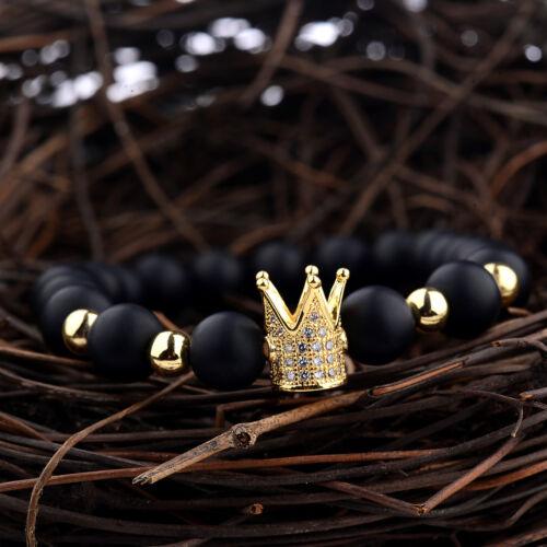 2019 New Gold CZ Couronne Pierre naturelle Perles Femmes Hommes Bracelets Bangle Bijoux