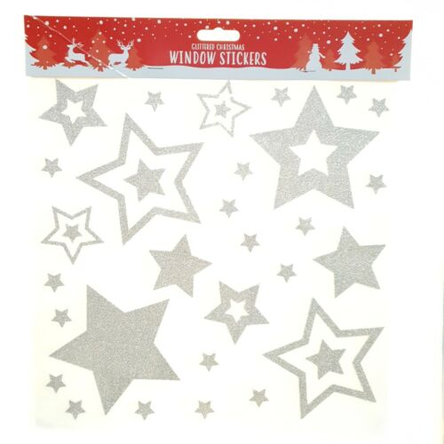 27 x  Silver Christmas Glittered Star Window Glass Stickers Decals Decoration