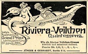 Parfum Riviera Veilchen Quintessenz Reklame 1906 Meerjungfrau Jünger & Gebhard - Waldburg, Deutschland - Parfum Riviera Veilchen Quintessenz Reklame 1906 Meerjungfrau Jünger & Gebhard - Waldburg, Deutschland