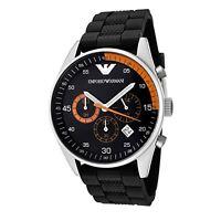 Emporio Armani Mens Chronograph Watch Black Silicone Strap Black Dial Ar5878