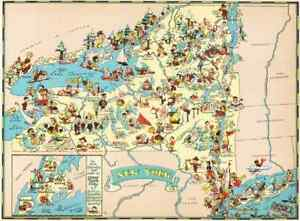 Canvas Reproduction Vintage Pictorial Map of Alaska Print Ruth Taylor 1935