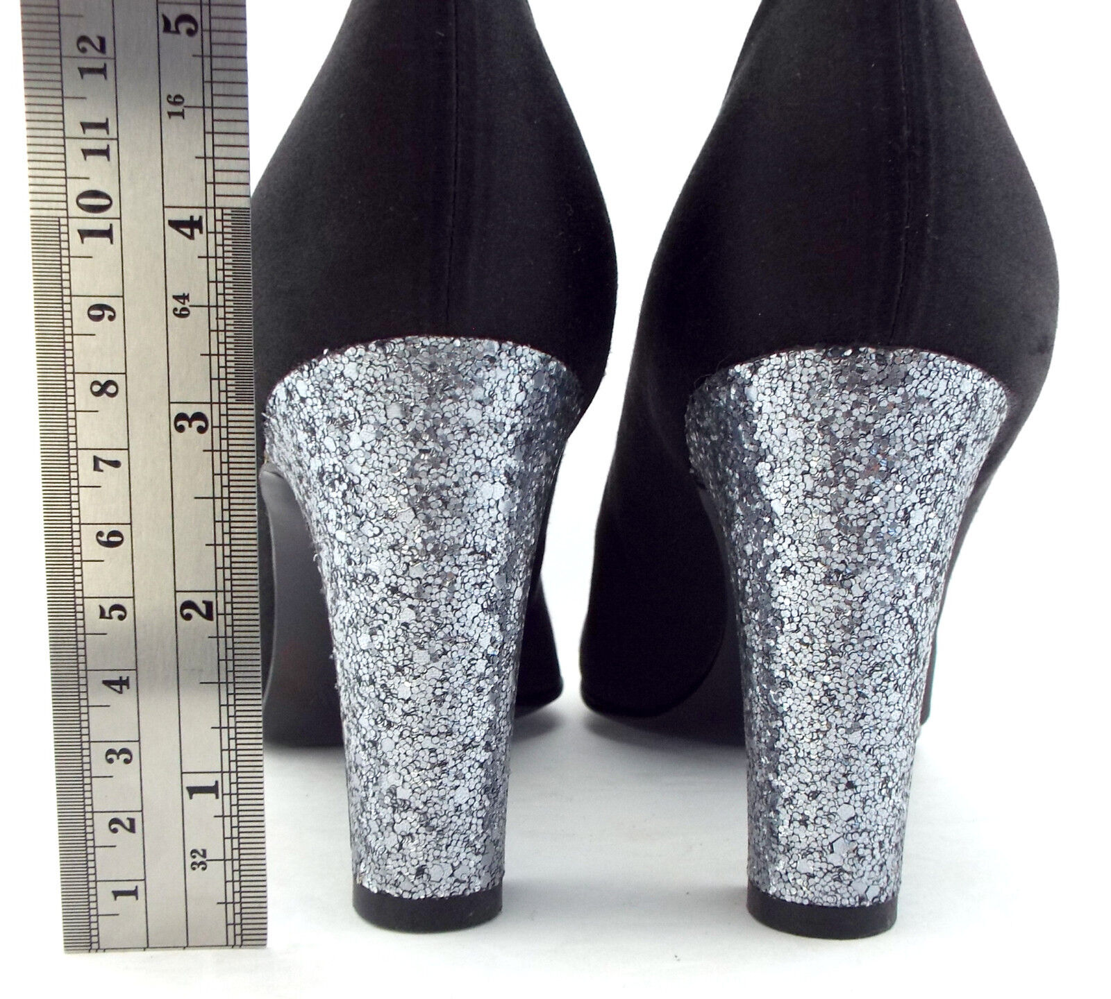 New J CREW Size 9 Black Satin Pumps Pumps Pumps w  Silver Glitter Heels shoes 681e2c