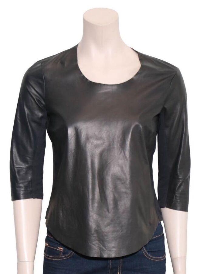 RAQUEL ALLEGRA Leather Panelled schwarz Top (Größe S)