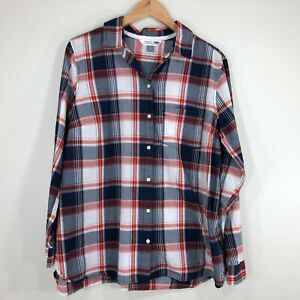 Old-Navy-Womens-The-Classic-Shirt-Top-Size-XL-Red-White-Blue-Plaid-Long-Sleeve