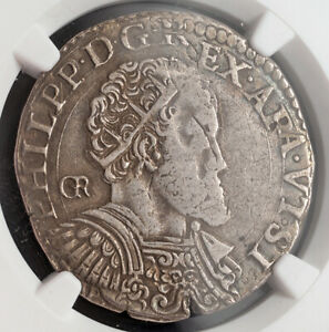 1575, Kindom of Naples, Philip II of Spain. Silver ½ Ducato Coin. NGC VF-35!