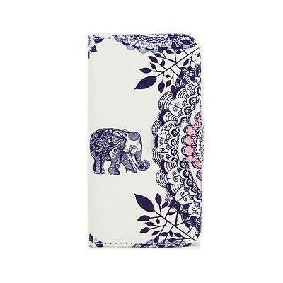 Elephant Mandala Leather Flip Stand Card Slot Wallet Case Cover for Cell Phones