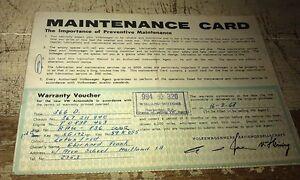 1968 VW Volkswagen Australian Maintenance Card