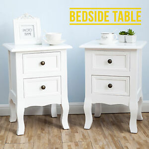 Pair-Shabby-Chick-Bedside-Table-Set-2-Cabinets-2-Drawers-Chest-Furniture