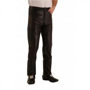 disponibilità nel Regno Unito 3239b c3195 Dettagli su SALDI Pantaloni di pelle per uomo stile jeans nero 301 MARTIN  Osx biker fas