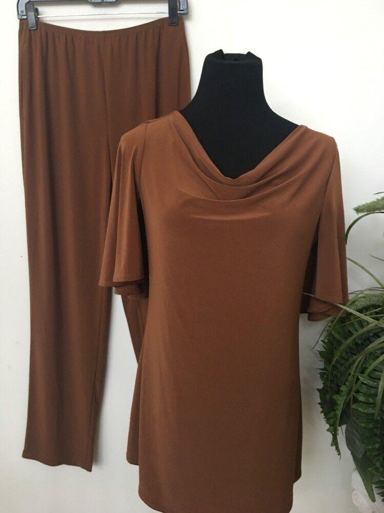 NWT Antthony Original Design Women's Brown Polyester Blend 2 Piece Pant Set Sz S
