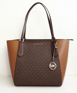 Details about Michael Kors Bag Kimberly LG Bonded Tote Luggage Multi New show original title