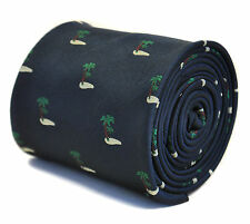Navy Mens Tie with embroidered palm tree desert island print FT2192 RRP£20