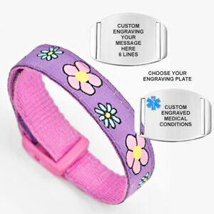 Purple Flower Medical Alert Bracelet