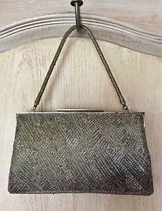Vintage Accessories Free People Silver Metallic Vintage Deco Beaded Handbag 1920's Era Pristine Cond
