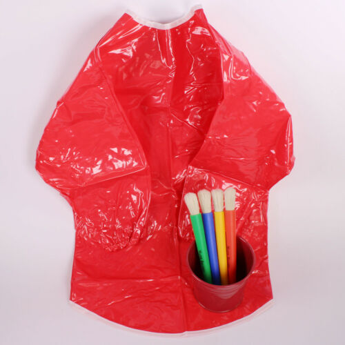 Red PVC Apron Kids Art Cooking Waterproof Washable Children's Tabard