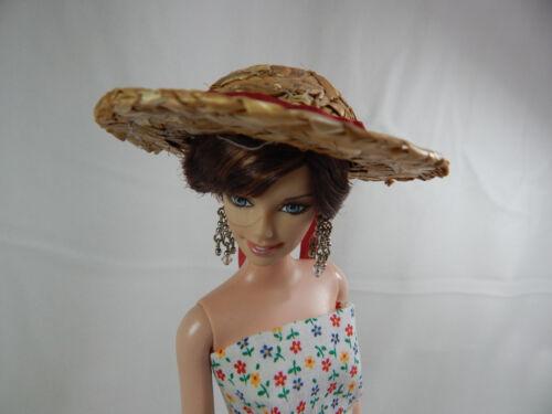 "Miniature Straw Hats 3/"" Mini Straw Hats Fancy Hand Made #Z149 White"
