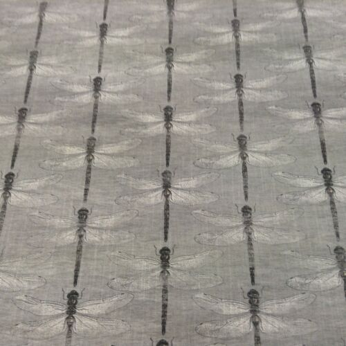 Dragonfly  Charcoal Grey//Black Cotton Curtain//Craft//upholstery Fabric