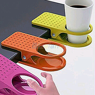 Home Office Room Drink Cup Coffee Holder Water Stand Clip Desk Table F