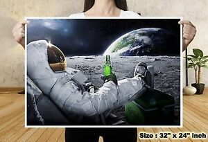 Universe moon spaceman drink beer world map silk canvas poster art image is loading universe moon spaceman drink beer world map silk gumiabroncs