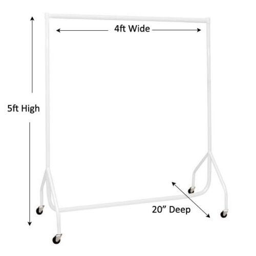 environ 1.22 m Long X 5 Ft environ 1.52 m haute Shopfittings Vêtement Display Heavy Duty Blanc Vêtements Rail 4 ft