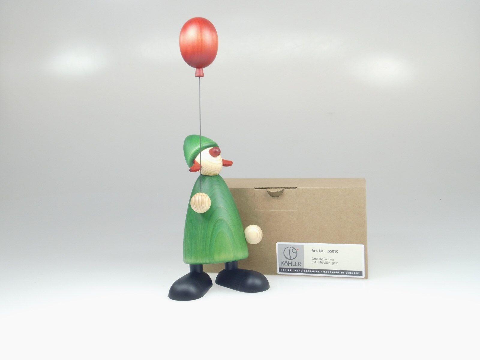 Björn Köhler 55010 Gratulantin Lina mit rotem Luftballon grün 17 cm NEU und OVP