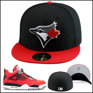 35de1ac8 Details about New Era Toronto Blue Jays Fitted Hat Cap BLACK/RED For jordan  4 toro bravo bred