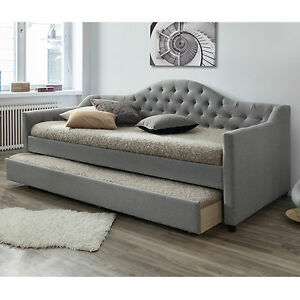 Details about Modern Single Fabric Sofa Bed Frame with Trundle - Grey