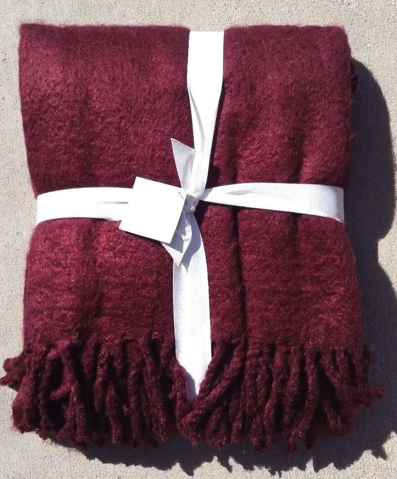 POTTERY BARN MOHAIR OVERSIZED THROW BURGUNDY  55  X 80  SOLD OUT EVERYWHERE