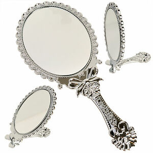 Small decorative vintage antique style silver hand held for Small silver mirror