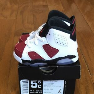"2302d7765f8cd3 DS 2014 Air Jordan 6 Retro (BT) ""White  Carmine-Black"" sz 5.5c"