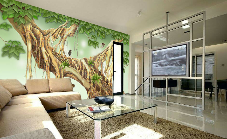3d Tree Roots vert Leaf 87 Wallpaper Mural Wallpaper Wallpaper Picture Family De
