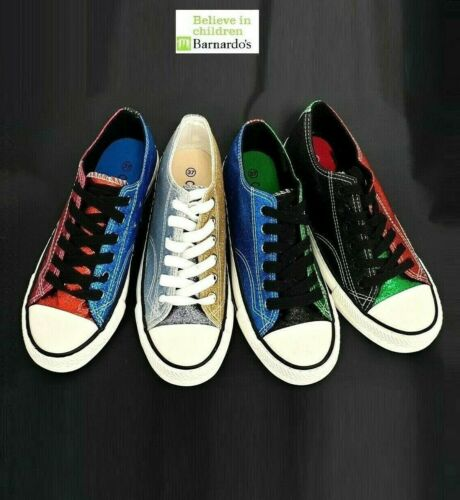 Womens Girls Glitter Flat lace up plimsolls pumps canvas trainer shoes #A2088
