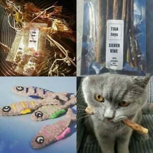 Combo Set Par Tiga Toys - 5 Gcatnip, Silvervine Sticks & 4 Cataire Sardines Jouet Pour Chat-rvine Sticks & 4 Catnip Sardines Cat Toys Fr-fr Afficher Le Titre D'origine