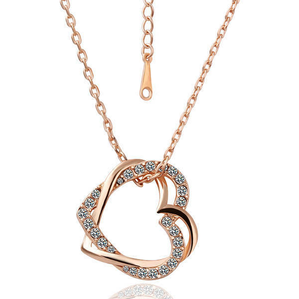 New 18K Rose Gold Filled Women's Heart Pendant Necklace With Austria Crystal